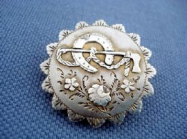 Antique Brooch -  Victorian Sterling Silver with Horseshoe and Riding Crop (sold)